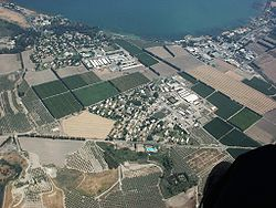 Aerial photo showing Degania Betin the center