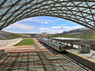 Denver Airport station - Image: Denver Airport RTD Station, from Westin Hotel