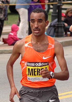 Deriba Merga - Deriba Merga on the way to winning the 2009 Boston Marathon near half way point in Wellesley.