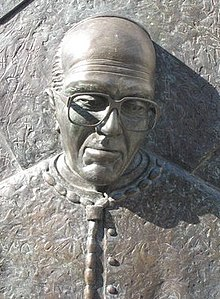 Detail from the statue of Derek Worlock, the former Catholic Archbishop of Liverpool 2.jpg