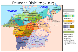 German dialects - Distribution of Continental West Germanic varieties circa 1910