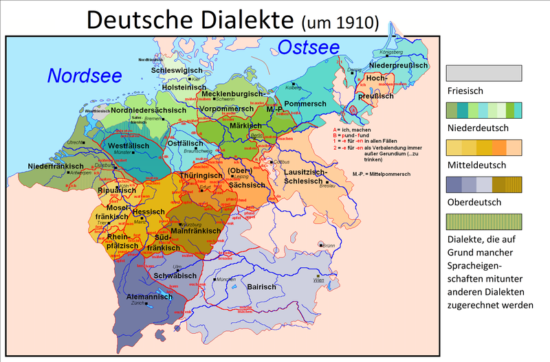 Map Of Germany Circa 1900.German Dialects Wikiwand