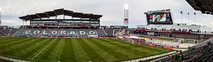 Dick's Sporting Goods Park - Wide angle shot of the stadium looking west