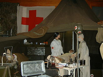 Military medicine - WWII era field hospital re-created operating tent using puppets, Diekirch Military Museum, Luxembourg