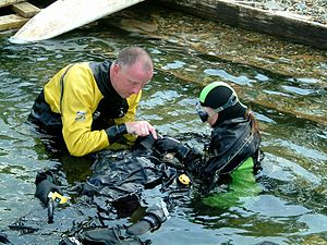 Diver rescue - Beaching a casualty while providing artificial respiration