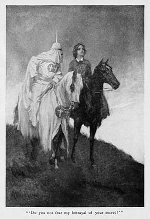 Gardner–Webb University - Frontispiece to the first edition of Dixon's The Clansman: A Historical Romance of the Ku Klux Klan, portraying a member of the Ku Klux Klan.