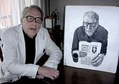 Donald Richie with portrait by Carl Randall