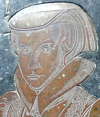 Dorothy Wadham - Dorothy Petre (d.1618), wife of Nicholas Wadham. Detail from her monumental brass in St Mary's Church, Ilminster. Almost identical to the brass to her sister-in-law Florence Wadham (1538-1597), wife of John Wyndham (d.1572) of Orchard Wyndham,  in St Decuman's Church, Watchet, Somerset