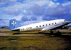 Serviços Aéreos Cruzeiro do Sul - Douglas C-47A (DC-3) of Cruzeiro at Rio Santos Dumont Airport in 1975