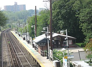 Douglaston, Queens - The LIRR station, looking west from the Douglaston Parkway overpass