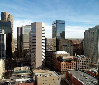 The 17th street district includes many financial, business and corporate buildings. Downtown Denver Skyscrapers.JPG