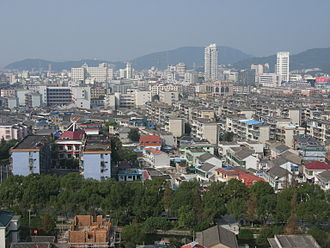 Dinghai District - Downtown Dinghai from Xiaoqi Residential Building.