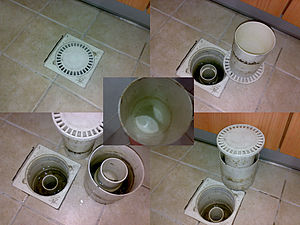 Plumbing fixture - This drain cover has a container underneath (which can be taken out for cleaning and revealing another container below) acting as a trap. Water inside the container forms a seal when the cover is in place. Positive air pressure will push the cover up, acting as an early warning device. The underside of the cover (centre image) is kept moist by condensation occurring and insects that go back up the drain pipe get stuck to the walls of the cover.