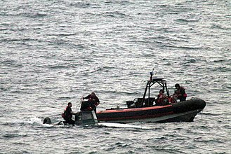 Narco-submarine - A narco-submarine being seized by the U.S. Coast Guard off the Coast of Guatemala on September 17, 2008.