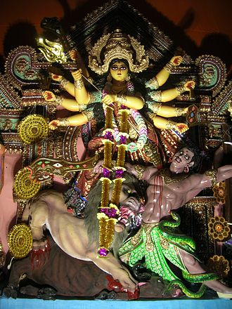 Behala - A traditional idol of Durga at Barisha Sarbojanin Durga Puja Samiti, 2010.