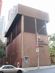 A ventilation tower for the 63rd Street Tunnel, as seen at ground level