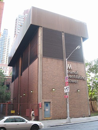 63rd Street Tunnel - Image: E63d St Ventilating Tower jeh