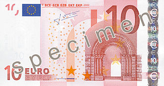 Euro banknotes - Image: EUR 10 obverse (2002 issue)