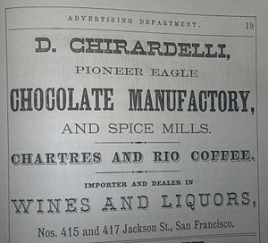 Ghirardelli Chocolate Company - 1871 Ghirardelli Advertisement