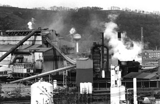 Edgar Thomson Steel Works - Ovens and mill building of the Edgar Thomson works, as of the mid-1990s