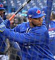 Edwin Encarnacion takes batting practice before the AL Wild Card Game. (29856698960).jpg
