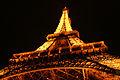Eiffel tower from bottom by night-Paris.jpg