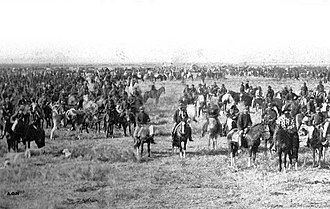 Argentine Army - The Argentine Army, led by General Julio A. Roca, commemorating an anniversary of the May Revolution in 1879