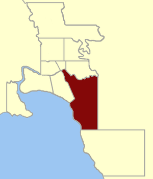 Electoral district of St Kilda - Location within Greater Melbourne area, 1859