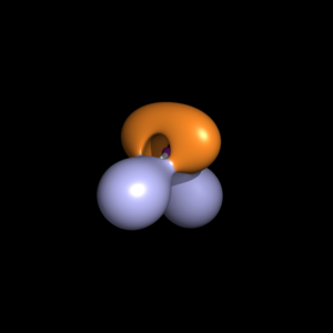 Electron localization function - Image of the ELF of water at level 0.8, generated using PyMOL