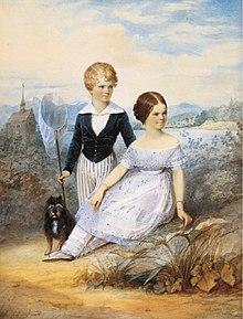 Ritratto di Elisabetta all'età di undici anni insieme con il fratello Carlo Teodoro al castello di Possenhofen.