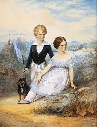 """Karl Theodor, Duke in Bavaria - Karl Theodor, Duke in Bavaria, with his sister Elisabeth at 11 years old, and their dog """"Bummerl"""" at Possenhofen Castle"""