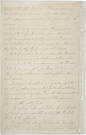 Page four of the Emancipation Proclamation.