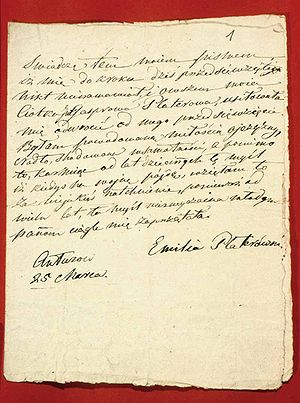 Emilia Plater - Statement of 25 March 1831, by Emilia Plater on joining the November Uprising.