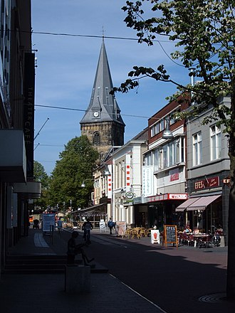 Enschede - Langestraat in Enschede, with the Grote Kerk in the background