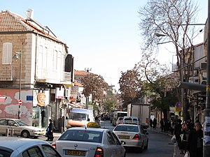Malkhei Yisrael Street - A common view of the congestion in Malkhei Yisrael's commercial district.