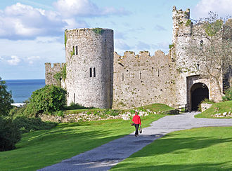 Manorbier Castle - The entrance seen  from the north east