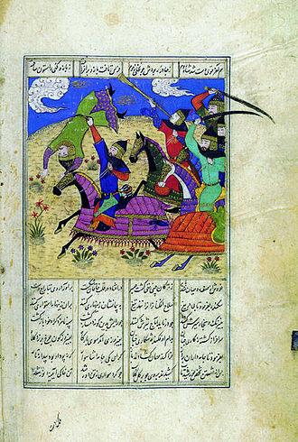 Alexander the Great in legend - Eskandar fighting the enemy, 15th century Persian miniature, Czartoryski Museum
