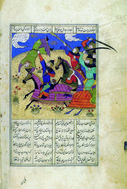 Alexander the Great depicted in a 15th-century Persian miniature painting Eskandar fighting the enemy.jpg