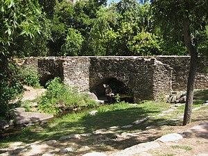 Espada Acequia - The Espada aqueduct as it crosses Piedras Creek.