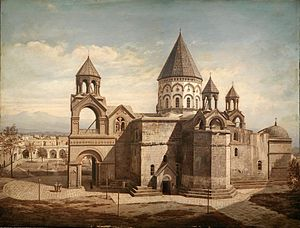 Etchmiadzin Cathedral - Painting of the cathedral by an unknown European artist (1870s)
