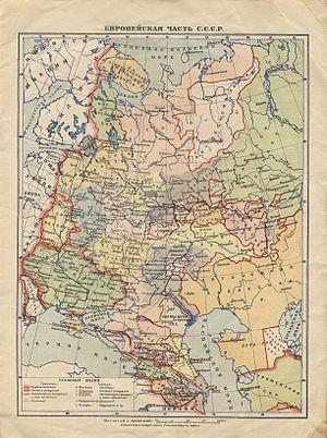 Northern Krai - Northern Krai on a 1930 map of European USSR