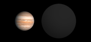 WASP-12b - Size comparison of WASP-12b (right) with Jupiter