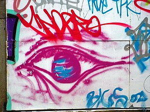 English: Eye painting on a wall in London.
