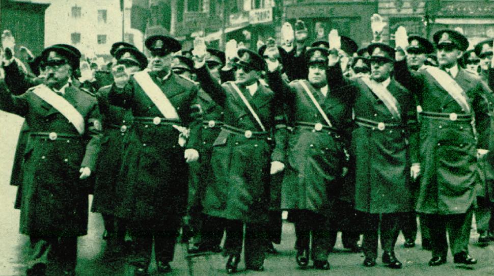 FRN leaders (Vaida, Argetoianu, Călinescu, Iamandi, Slăvescu, Ghelmegeanu), Aniversarea Constituției, March 1939