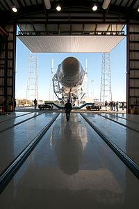 Falcon 9 Leaving Hangar at Cape Canaveral.jpg