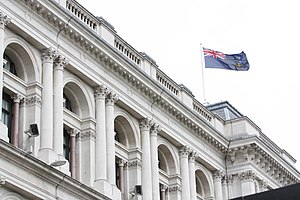 Flag of the Falkland Islands - The Falkland Islands flag flying over the Foreign and Commonwealth Office Main Building in Whitehall.