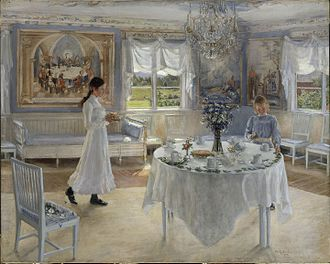 Name day - A Day of Celebration. A painting by Swedish artist Fanny Brate depicting preparations for a name day celebration. Oil on canvas, 1902.