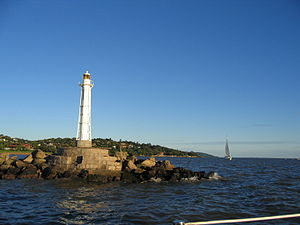 The lighthouse of Clube dos Jangadeiros, a nau...