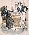 """Fashion plate of two men from """"Le Follet Courrier des Salons"""" Gravure de mode montrant deux hommes, tirée de la revue Le Follet Courrier des Salons (48301610411).jpg"""