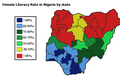 Female literacy rate in Nigeria by state.png